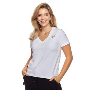 T-shirt v neck biały