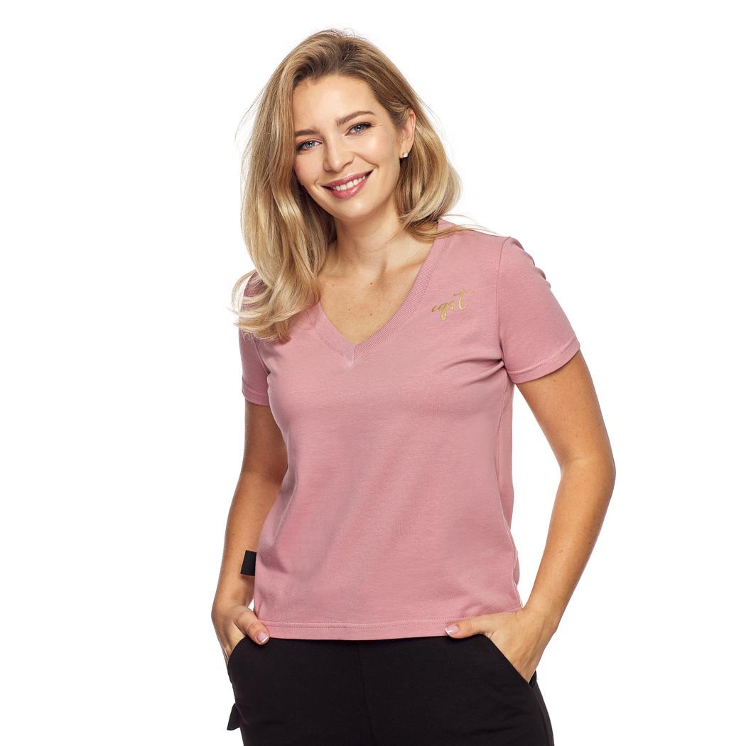 T-shirt v neck różowy